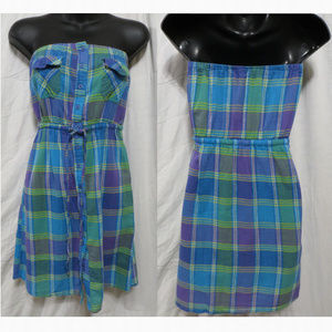 Forever 21 dress Small plaid button up strapless